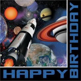 Space Blast Luncheon Napkins Happy Birthday