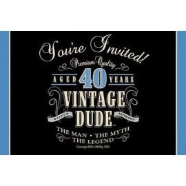 Vintage Dude 40th Birthday Invitations,