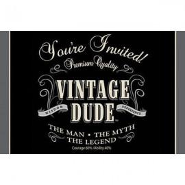 Vintage Dude Birthday Invitations, Gatefold