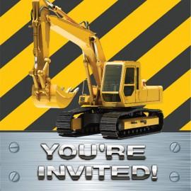 Construction Birthday Zone Foil Invitations