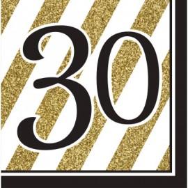 Black & Gold 30 Luncheon Napkins