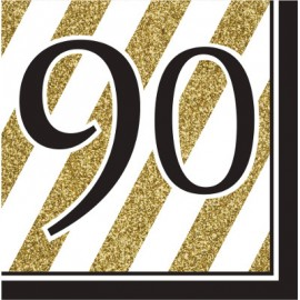 Black & Gold 90 Luncheon Napkins