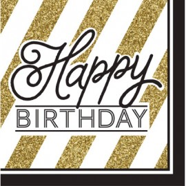 Black & Gold Luncheon Napkins Happy Birthday