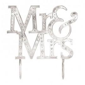 Cake Topper Silver Mr & Mrs & Gems 13cm