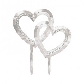 Cake Topper Silver Double Hearts & Gems 11cm x 13cm