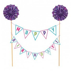 Cake Topper Happy Birthday Purple Banner Kit