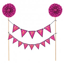 Cake Topper Happy Birthday Pink Banner Kit