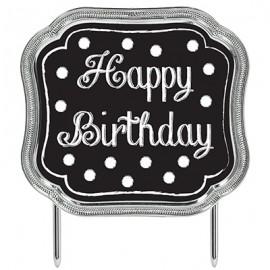 Cake Topper Happy Birthday Black & White Dots