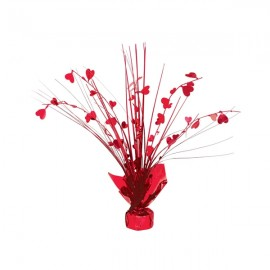 Centrepiece Spray Hearts Metallic Red 30cm