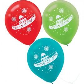 30cm Fiesta Sombrero Print Latex Balloons