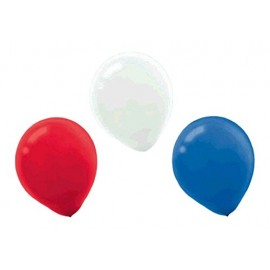 28cm Red White & Blue Assorted Latex Balloons 72PK
