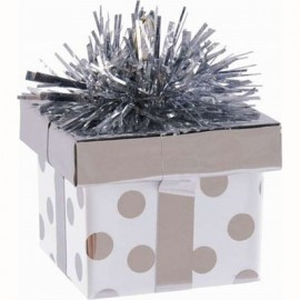 Balloon Weight Gift Box Silver Dots