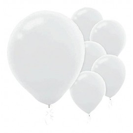 12cm White Latex Balloons 50PK