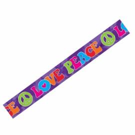 Banner Foil Tye Dye ' Love Peace' Feeling Groovy