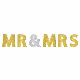 Banner MR & MRS Gold & Silver Glittered