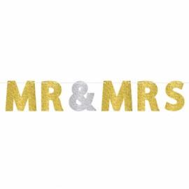 Banner MR & MRS Gold & Silver Glittered