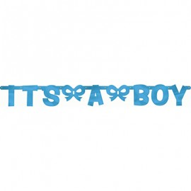 Banner It's A Boy Letter Banner Jointed Blue Foil