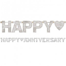Banner Happy Anniversary Silver Letter Banner