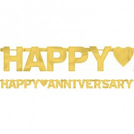 Banner Happy Anniversary Gold Letter Banner