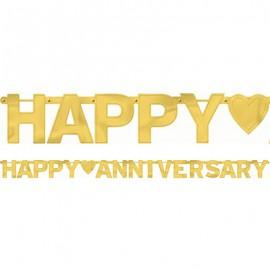 Banner Happy Anniversary Gold Letter Banner