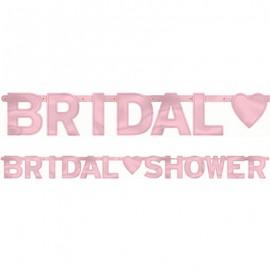 Banner Bridal Shower & Heart Rose Pink