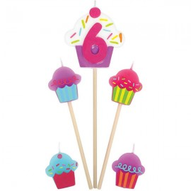 Candles Number 6 Cupcakes - 5 Piece Pick Set