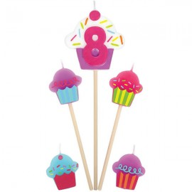 Candles Number 8 Cupcakes - 5 Piece Pick Set
