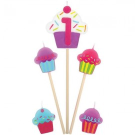 Candles Number 1 Cupcakes - 5 Piece Pick Set
