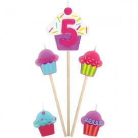 Candles Number 5 Cupcakes - 5 Piece Pick Set