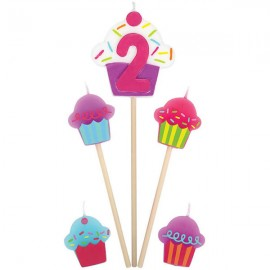 Candles Number 2 Cupcakes - 5 Piece Pick Set