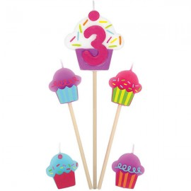 Candles Number 3 Cupcakes - 5 Piece Pick Set