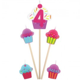 Candles Number 4 Cupcakes - 5 Piece Pick Set
