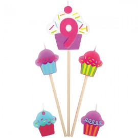 Candles Number 9 Cupcakes - 5 Piece Pick Set