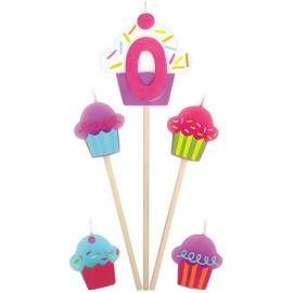 Candles Number 0 Cupcakes - 5 Piece Pick Set