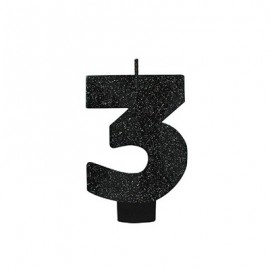 Candle Number Three Black Sparkle Glittered