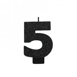 Candle Number Five Black Sparkle Glittered