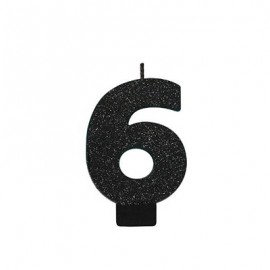Candle Number Six Black Sparkle Glittered