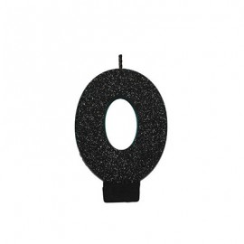 Candle Number Zero Black Sparkle Glittered