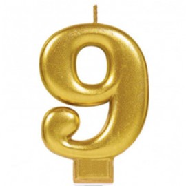 Candle Number Nine Gold Metallic