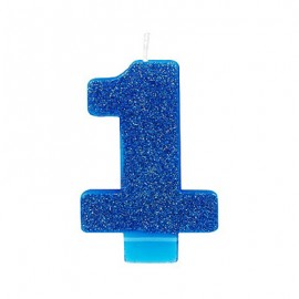 Candle Number One Bright Blue Glittered