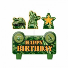 Camouflage Candles Set Mini Moulded Happy Birthday