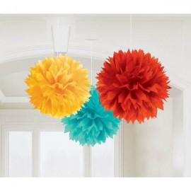 Fluffy Hanging Decorations Fiesta Colours - PROMO DEAL