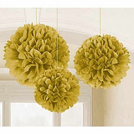 Fluffy Hanging Decorations Gold - PROMO DEAL