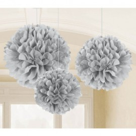 Fluffy Hanging Decorations Silver - PROMO DEAL