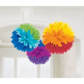 Fluffy Hanging Decorations Rainbow Colours - PROMO DEAL