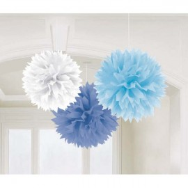 Fluffy Hanging Decorations Blue & White - PROMO DEAL