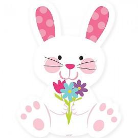 Easter Bunny Rabbit Cutout & Flowers
