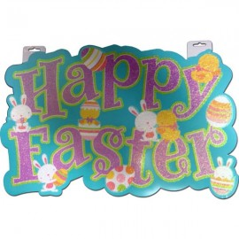 Cutout Happy Easter Glittered Large