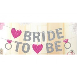 Bride to Be Glittered Banner Hearts & Diamond Rings
