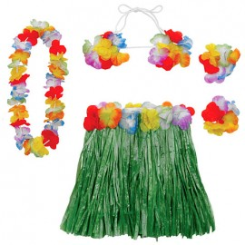 Hula Skirt Kit Adult Size - Includes Lei, Hibiscus Top &